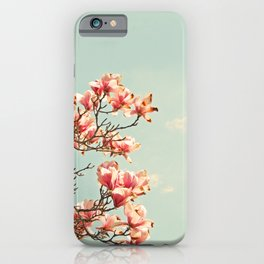 Pink Magnolia Blossoms in Spring iPhone Case