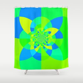 Green & Turquoise Kaleidoscope Design Shower Curtain