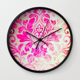 Pink Damask Pattern Wall Clock