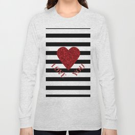 LOVE YOU Valentine print. Red glitter heart and black stripes congratulation card Long Sleeve T-shirt