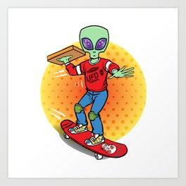 Alien Pizza Delivery Art Print