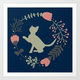 The Flowers and Kat Art Print