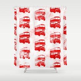 Grunge London Bus Pattern Shower Curtain