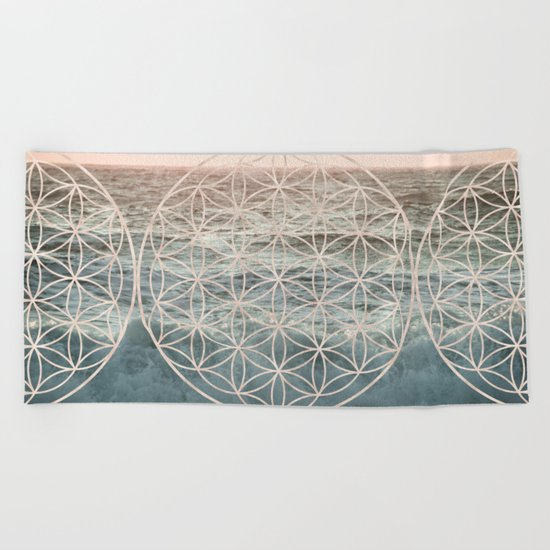 Mandala Flower of Life Sea Beach Towel