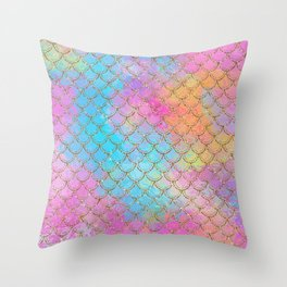 Pastel Mermaid Scales Gold Sparkle Glitter Throw Pillow