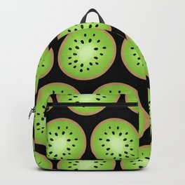 Kiwi Pattern  |  Black Background Backpack