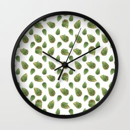 Leaves Motif Nature Pattern Wall Clock