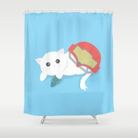 samus Shower Curtains featuring GamerCat - Samus by Element of Design