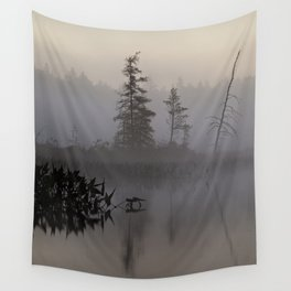 trees and weeds in the fog Wall Tapestry