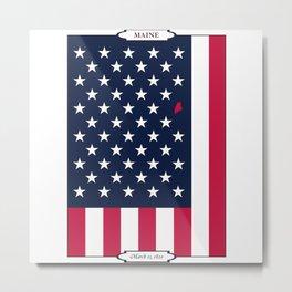 Maine State - American Flag Metal Print