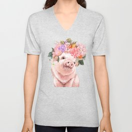 Baby Pig with Flowers Crown in Pastel Green Unisex V-Neck