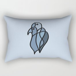 Two Colored Birds in Blue Colors Rectangular Pillow