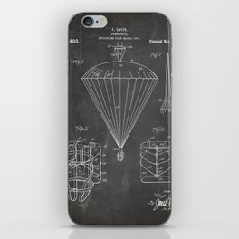 Parachute Patent - Sky Diving Art - Black Chalkboard iPhone Skin