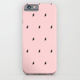 Black Lightning Bolt pattern on Pastel Pink background iPhone Case