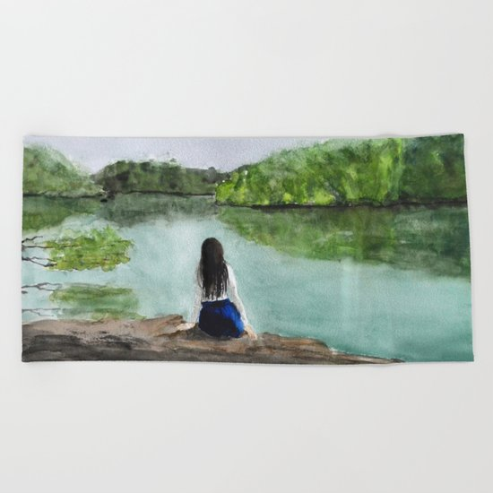 girl and nature Beach Towel