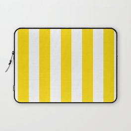 Sprint Yellow - solid color - white vertical lines pattern Laptop Sleeve