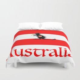 Australia - Kangaroo on Austrian Flag Duvet Cover