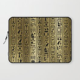 Black hieroglyphs pattern on Ancient Gold Laptop Sleeve