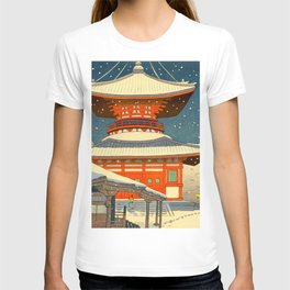 Asano Takeji Japanese Woodblock Print Vintage Mid Century Art Winter Red Shinto Shrine Snow Pagoda T-shirt