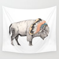 beast Wall Tapestries featuring White Bison by Sandra Dieckmann