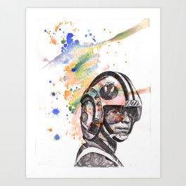 Luke Skywalker From Star Wars in Rebel Flight Helmet  Art Print