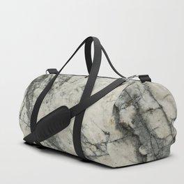The white stone with dark grey veins Duffle Bag
