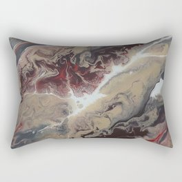 Neutral Black, Red and Brown Painting - Schism Abstract Rectangular Pillow