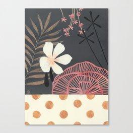 Dark Tropical Foliage with Polka dots Canvas Print