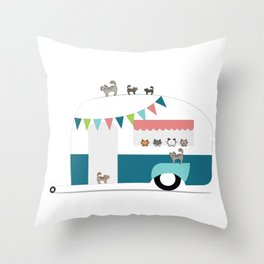 Happy Camper Kitties Throw Pillow