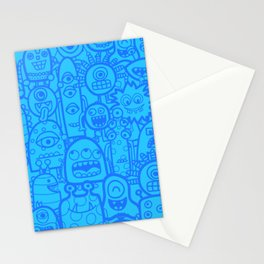 Cute Aliens Monsters Blue Boy Pattern Stationery Cards