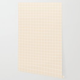 Antique white - pink color -  White Lines Grid Pattern Wallpaper