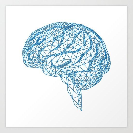 blue human brain Art Print