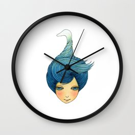 the girl with swan hair Wall Clock