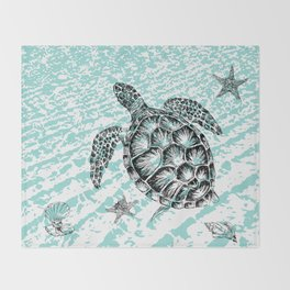Sea turtle print in black and white Throw Blanket