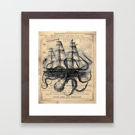 Octopus Kraken attacking Ship Antique Almanac Paper Framed Art Print