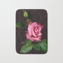 Pink Rose on Black Lace, Scanography Bath Mat