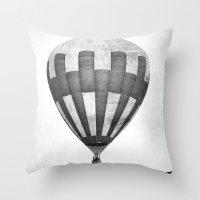 hot air balloon Throw Pillows featuring Hot Air Balloon by Rose Etiennette