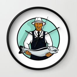 African American Fishmonger Holding Trout Wall Clock
