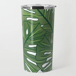 Large Monstera Leaf in Moss Green Travel Mug