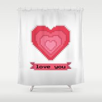 postcard Shower Curtains featuring 8-bit oldschool heart postcard by Xinnie and RAE