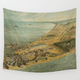 Vintage Pictorial Map of Point Lookout MD (1864) Wall Tapestry