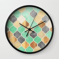 bedding Wall Clocks featuring Charcoal, Mint, Wood & Gold Moroccan Pattern by micklyn