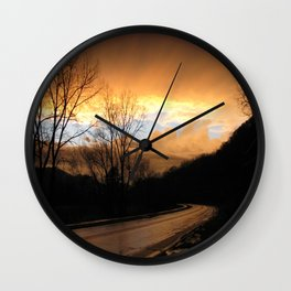 Drive into the Clouds Wall Clock