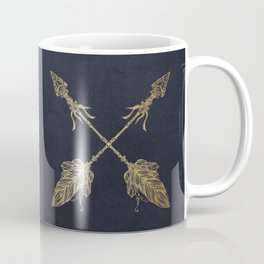 Arrows Gold Copper Bronze on Navy Blue Coffee Mug