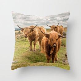 Three Highlanders Throw Pillow