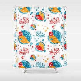 Seamless pattern lino style Shower Curtain