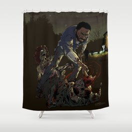 Fighting the undead Shower Curtain