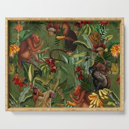 Vintage & Shabby Chic - Green Monkey Banana Jungle Serving Tray