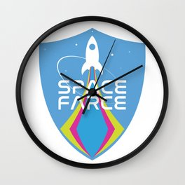 Space Force Space Farce Logo graphic parody Wall Clock