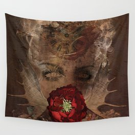 Lady with the red rose Wall Tapestry